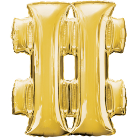 Hashtag ballon goud 86 cm - # - folieballon letter alfabet helium of lucht