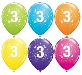 3 - nummer - div. Kleuren - latex ballon -11 inch/27,5cm