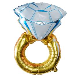 Diamante Huwelijks Ring- Folie Ballon - 32 Inch/81x50 cm