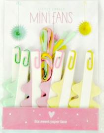 A Little Lovely Company - Mini Fans / Mini Papieren Waaier - Mint groen/ roze / geel - 14 cm / 6st.