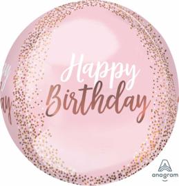 Happy Birthday- Ronde Roze Confetti Print Ballon - 15x16 Inch/38x40cm