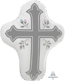 Kruis - Wit / Zilveren Kruis - XL Folie Ballon - 23x28 Inch / 58x71 cm