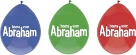 Hoera voor Abraham - Rood/Blauw/Groen - Latex ballon
