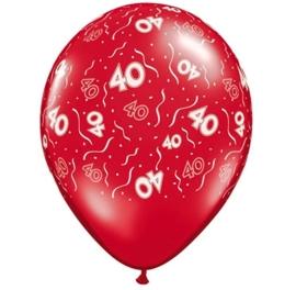 40 - Nummer - Rood - latex ballon - 11 Inch. / 27,5 cm