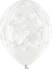 Vlinders - Wit - Doorzichtige Latex Ballon - 12 Inch/ 30 cm