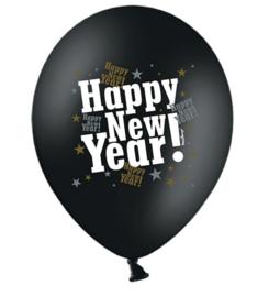 Happy-new-year!- zwarte-ballon wit, zilver en gouden letters-gelukkignieuwjaar-oud en nieuw-ballon