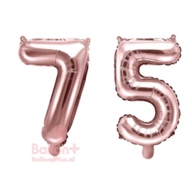 Getal - 75 - Cijfers /  Nummers - Rose Goud - Folie Ballon (lucht) 35 cm