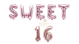 Sweet 16 - Cijfers /  Nummers/ Letters - Rose Goud  - Folie Ballonnen pakket (lucht) 35 cm
