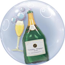 Champagne met glas en bubbles - Dubbele Ballon - Bubbles Ballon - 24 Inch/60cm