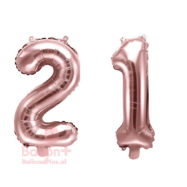 Getal - 21 - Cijfers /  Nummers - Rose Goud - Folie Ballon (lucht) 35 cm