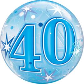 40 - Bubbles  Ballon  - Blauw - Sterren /Stars - 22 inch/56cm