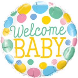 Welcome Baby - Folie Ballon - Rose/Blauw/Geel/Mint- 18 Inch/46 cm