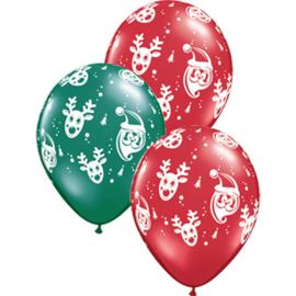 Kerstman en Rudolph - Rood/Groen - Latex Ballon - 11 Inch. / 27,5 cm  - 5st.