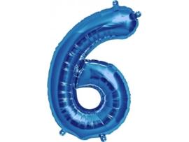 Cijfer - 6 - nummer - Blauw - Folie ballon (lucht) - 16inch / 40 cm