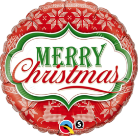 Merry Christmas - Noors Design - Rood / Wit / Groen -Folie Ballon - 18 Inch./45cm