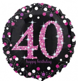 40 -  Folie Ballon-Happy Birthday -Confetti  - Fuchsia / Zwart  17 Inch / 43 cm.