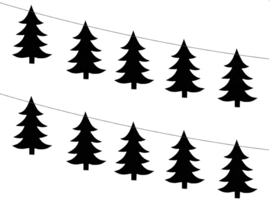 Slinger - Garland kerstboom - kerstboomslinger - zwart - 1.80 m - ballonplus