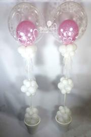 Ballonnen Pilaar  - Elegant - met een hartjes Deco Ballon - roze/wit