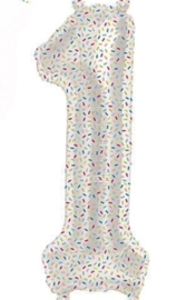 Cijfer - 1 - Nummer - Spikkels - Div. Kleuren - Folieballon (lucht) - 16inch / 40 cm