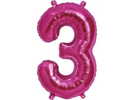 Cijfer - 3 - nummer - Fuchia - Folie ballon (lucht) - 16inch / 40 cm