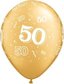 50 - nummer - Goud - latex ballon - 11 Inch/27,5cm