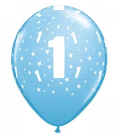 1 - nummer - Baby Blauw - latex ballonnen -11 inch/27,5m