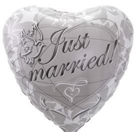 Just Married! - Zilver - Folie Ballon - 17 Inch/43cm