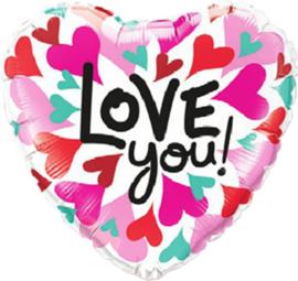 Love You ! - Folie Ballon - Roze / Mint - 18 Inch/46cm