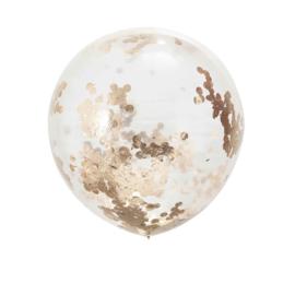 Mega Doorzichtige Confetti Latex Ballon -  Rose Goud - 36 Inch/ 90cm - 3 st.