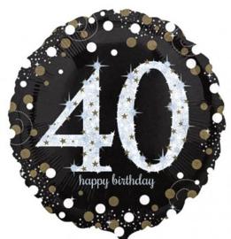 40  - Folie Ballon- Happy Birthday -Confetti  - Zilver / Zwart  17 Inch / 43 cm