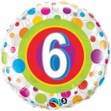 6 - Folie ballon - kleurige Stippen - 18Inch/45cm