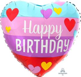 Happy Birthday - Hart Ballon - 17 Inch / 43 cm