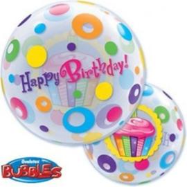 Happy Birthday Cupcake & Stippen - Bubbles Ballon-22 inch/56cm