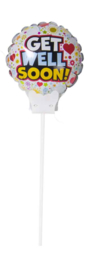 Get Well Soon! -  Small Folie ballon - incl. gratis kaartje -6 inch / 15 cm