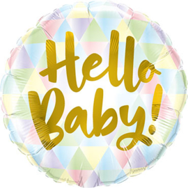 Hello Baby! - Goud / Pastel kleuren - Folie Ballon 18 Inch/46 cm