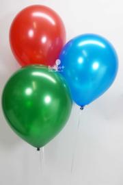 Helium Ballonnentros  -  3 Ballonnen - Rood /  Blauw /Groen metallic   ( 12 Inch./ 30cm per ballon)