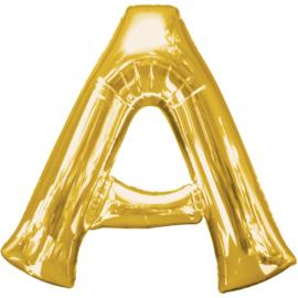 Letter A ballon goud 86 cm - folieballon letter alfabet helium of lucht