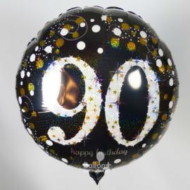 90  - Folie Ballon-Happy Birthday - Confetti  - Zilver / Zwart  17 Inch / 43 cm.