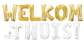 Welkom Thuis - Letters - XXL - Goud / Zilver - 86 cm - folieballon letter alfabet helium of lucht