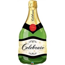 Champagne fles -  Celebrate - Groen - Personaliseerbaar -X X L folie ballon - 39Inch/92,5 cm