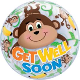Get Well Soon / Aapjes met Bananen print -Doorzichtige Bubbles Ballon - 22 Inch/56cm