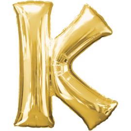 Letter K ballon goud 86 cm - folieballon letter alfabet helium of lucht