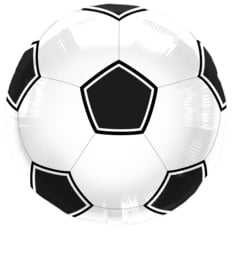 Voetbal - FolieBallon - Zwart/Wit  - 18 inch-46cm