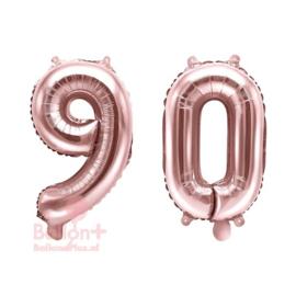 Getal - 90 - Cijfers /  Nummers - Rose Goud - Folie Ballon (lucht) 35 cm