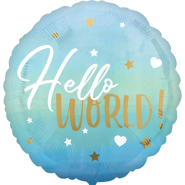 Hello World! - Blauw - Folie Ballon - Rond - 43 cm