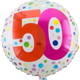 50 - Diverse kleuren Stippen - folie Ballon - 18 Inch/45 cm