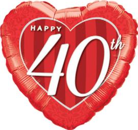 40 Jaar Getrouwd - Rood Hart Folie Ballon - 18 Inch/ 46 cm