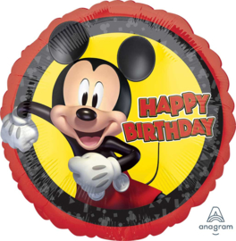 Disney -Mickey Mouse - Happy Birthday Folie Ballon - Rood/Zwart - 17 Inch/43cm