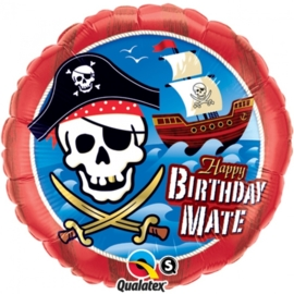 Happy Birthday  Mate- Piraten Feest - Folie Ballon -18 inch/45cm