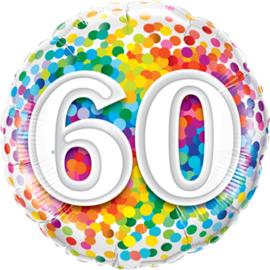 60 - Div.Kleuren Confetti Print - Folie ballon - 18 Inch/ 46 cm